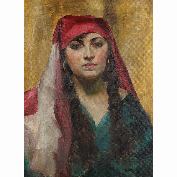 William J. Forsyth, (1854 - 1935), Orientalist portrait of a lady, oil on canvas, 26 1/2