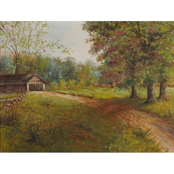A. Izor, (American; 20th Century), Indiana covered bridge landscape, oil on canvas, 20