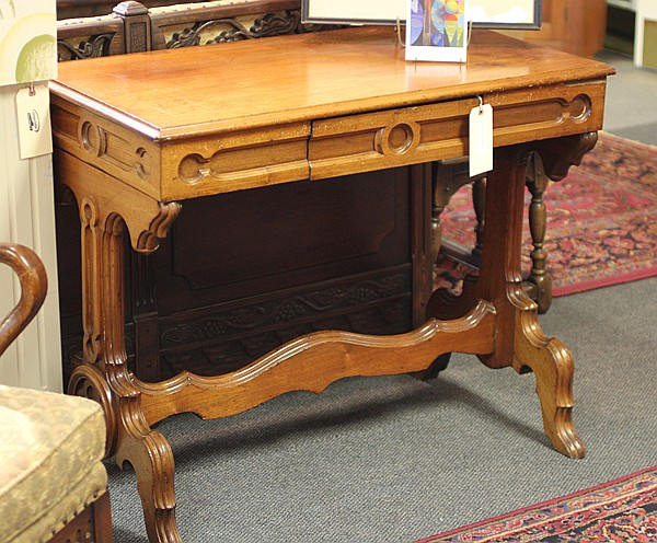 Gothic Revival library trestle table.