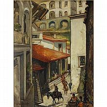 William Edouard Scott, (American; 1884-1964), Haitian street scene, oil on board, 24