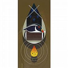 Charley Harper, American (1922-2007), Wood Duck (1973), Screenprint on paper, 26 1/4