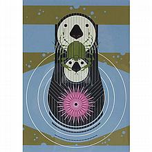 Charley Harper, American (1922-2007), Otter Delight (1976), Screenprint on paper, 21 1/2