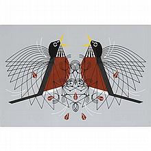 Charley Harper, American (1922-2007), Round Robin (1973), Screenprint on paper, 18 1/4
