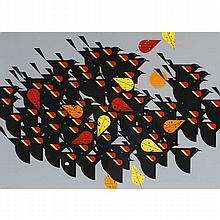 Charley Harper, American (1922-2007), Birds of a Feather, Screenprint on paper, 29 1/2