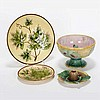 Four pieces Victorian majolica; two maple leaf plates marked 'Made in Germany' / 'Zell'; also a basketweave compote, and an inkwell