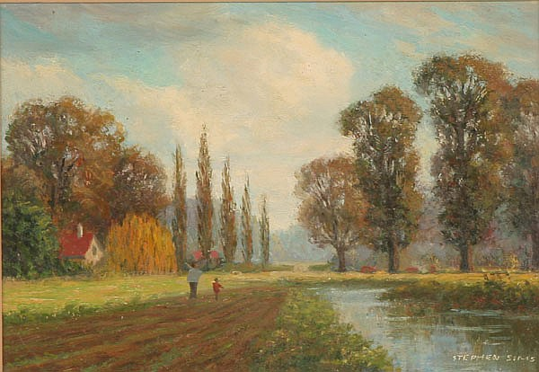 Stephen Sims (British, 20th century) Early fall stroll oil on board