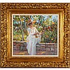 Donald Eric Hatfield, (California; b.1947), Romantic impressionist style garden portrait, woman in hat, oil on canvas, 18