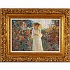 Donald Eric Hatfield, (California; b.1947), Romantic Impressionist style garden portrait, woman in hat, oil on canvas, 16