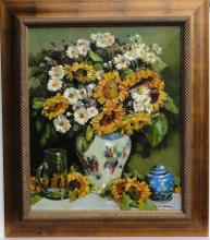 Sunflowers Still Life, Oil on canvas in wood frame
