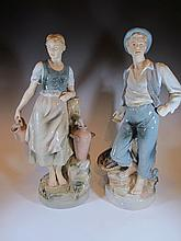 Old pair of Royal Dux porcelain statues