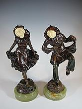Antique pair of Austrian bronze & ivory statues