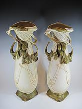 Antique pair of Royal Dux porcelain vases