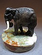 Antique bronze & ivory elephant statue