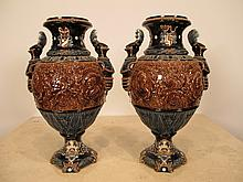 Antique Italian pair of majolica vases