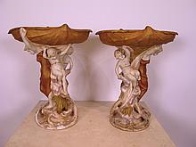 Antique pair of Royal Dux porcelain stands