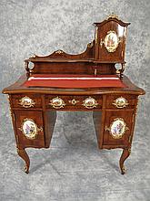 French Louis XV desk with porcelain plaques