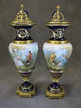 French Sevres pair of porcelain & bronze urns