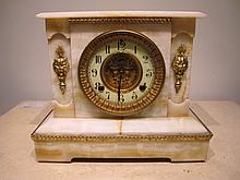 Antique American onyx & bronze mantel clock
