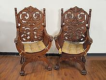 Antique pair of English carved armchairs