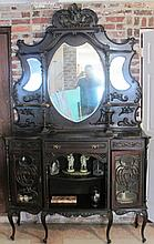 19TH CENTURY ENGLISH BUFFET CARVED WOOD & GLASS