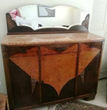 TURN OF CENTURY ENGLISH MAHOGANY BUFFET WITH MARBLE TOP & MIRROR