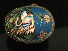 RARE RUSSIAN ENAMELED MINIATURE EGG WITH SWAN