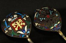 PAIR OF RUSSIAN SILVER ENAMELED SPOONS