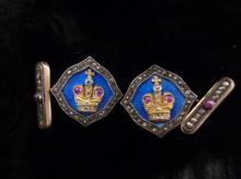 ANTIQUE PAIR OF RUSSIAN GOLD ENAMEL DIAMOND CUFFLINKS