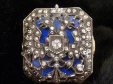 ANTIQUE RUSSIAN GOLD ENAMEL RING WITH DIAMONDS