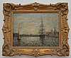 Signed Eugene Boudin O/P Painting of Ships in Harbor, Eugene Boudin, $1,250