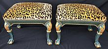 Pair of Fabulous Leopard Velvet & Leather Ottomans