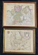 2 Antique Framed Maps (Denmark & Saxony)