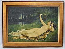 1912 Nude Woman Lounging Painting Signed Fullerton