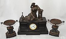 3 Piece Bronze & Onyx Beniere Clock Set (Woman w/
