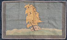 Antique Clipper Ship Hooked Rug
