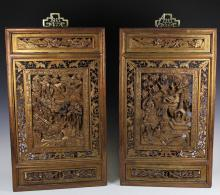 Fine Pair Chinese 19th C. Antique Wood Carved Screens