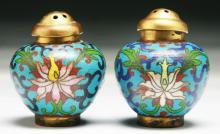 Pair Chinese Antique Cloisonne Bronze Shakers