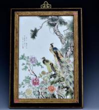 Chinese C. 1900 Antique Famille Rose Framed Porcelain Plaque