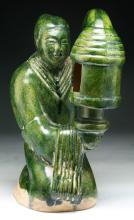 Chinese Antique HAN Dynasty Green Glazed Porcelain Lamp