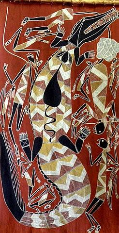 SAMUEL NAMUNDJA (1965 - ), Original Natural Ochres on Bark, Title: Crocodile Dreaming, Artist Details Verso, Titled Verso, Catalogue Number Verso: AHI2803, Provenance: Under Instructions from Major ASX Top 20 Australian Company, (Asset No: T1041146)
