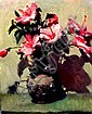 ALAN McKENZIE (AUS), Original Oil Painting on Board, Title:  Hibiscuses