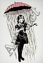 BANKSY (UK), Decorative Offset Lithograph, Title:  Umbrella Girl