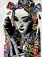 HUSH (UK), Limited Edition 9 Colour Silkscreen Hand Finished with Acrylic Paint, Spray Paint, Tea on Somerset Velvet, 2011, Title:  Unmasked Geisha, Signed Lower Right, Editioned Lower Right:  43/133