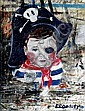 DAVID BROMLEY (1960 - ), Original Acrylic Painting on Board, Title:  Pirate, Signed Lower Right