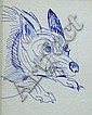 ADAM CULLEN (1965 - ), Original Ink Drawing, 2004, Title:  Wild Dog, Signed and Dated Lower Left