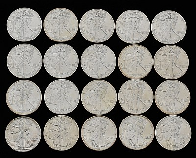 Twenty Walking Liberty Silver Dollar Coins, 1991