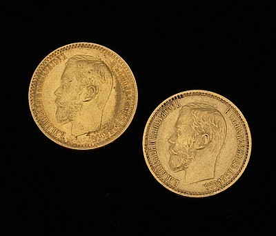 Two Russian Gold Five Ruble Coins, 1898 & 1899