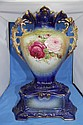 BLUE AND GOLD HAND PAINTED LARGE VINTAGE VASE.