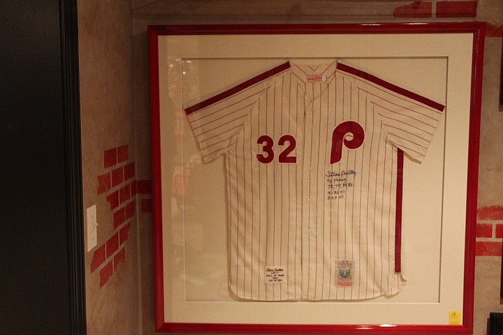 Framed 1994 Jersey.  Phillys 1-500 Signed by Steve Carlton & Cy Young