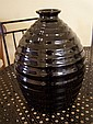 Art Deco black glazed ceramic vase